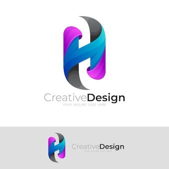 文字hのロゴとカラフルなデザイン、モダンなロゴ