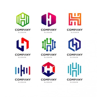 Letter h logo design collection