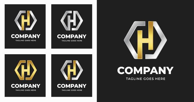 기하학적 모양 스타일로 편지 h 로고 디자인 서식 파일