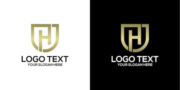 文字hロゴデザインベクトルプレミアムベクトル