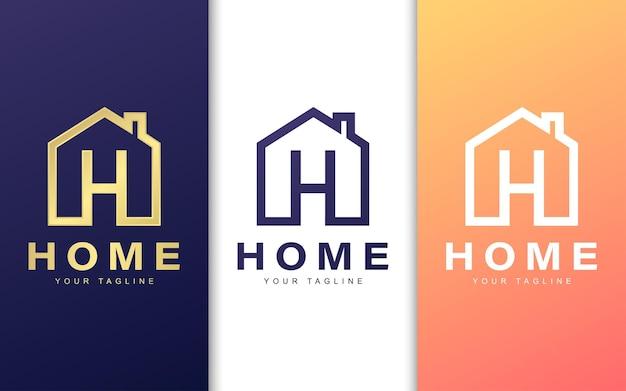 Шаблон логотипа буква h в здании. простая концепция домашнего логотипа