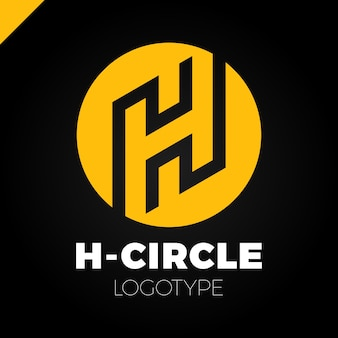 Letter h logo with circle in line style design template