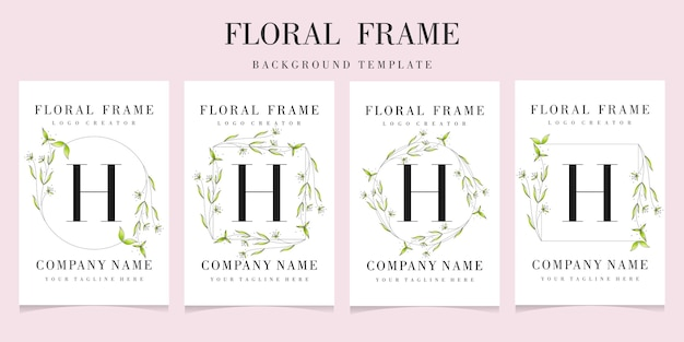 Letter h logo with floral frame background template