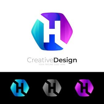 カラフルな六角形のデザインの文字hのロゴ