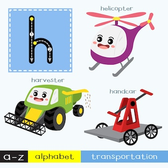 Letter h lowercase tracing transportations vocabulary