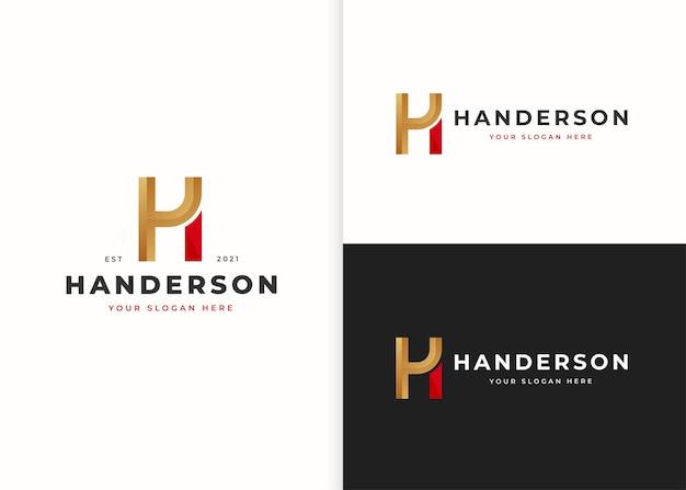 文字hの豪華なロゴデザインテンプレート。ベクトルイラスト