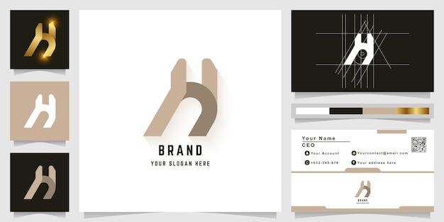 Letter h or a monogram logo with business card design