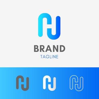 Letter h negative space logo