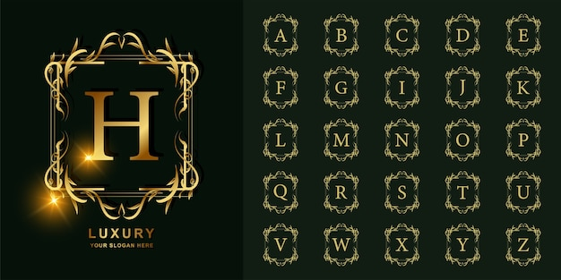Буква h или начальный алфавит коллекции с роскошным орнаментом цветочная рамка золотой шаблон логотипа.