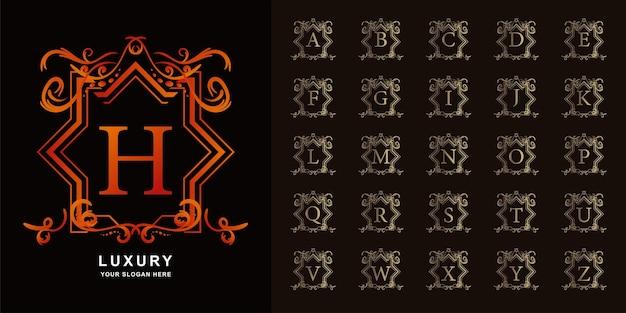 편지 h 또는 고급 장식 꽃 프레임 황금 로고 템플릿이 있는 컬렉션 초기 알파벳입니다.
