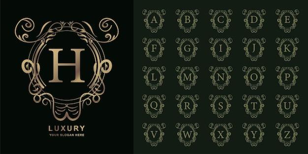 文字hまたは豪華な飾り花フレームゴールデンロゴテンプレートとコレクションの最初のアルファベット。