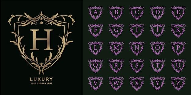 편지 h 또는 럭셔리 장식 꽃 프레임 황금 로고 템플릿 컬렉션 초기 알파벳.