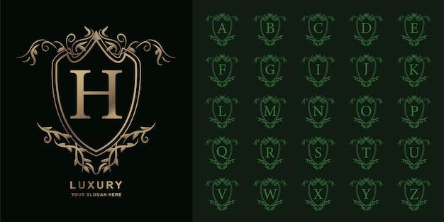 문자 h 또는 컬렉션 초기 알파벳 럭셔리 장식 꽃 로고 템플릿