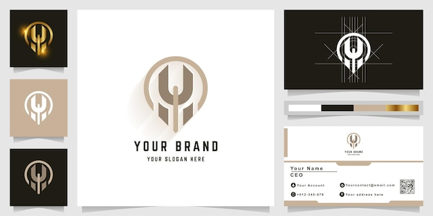 Буква h или логотип монограммы лица с дизайном визитной карточки