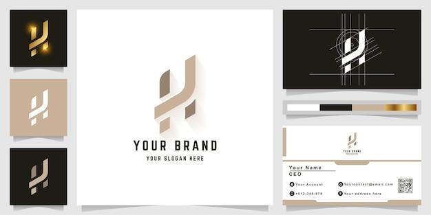 Буква h или k монограмма логотип с дизайном визитной карточки