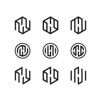 편지 h 세트 로고 디자인