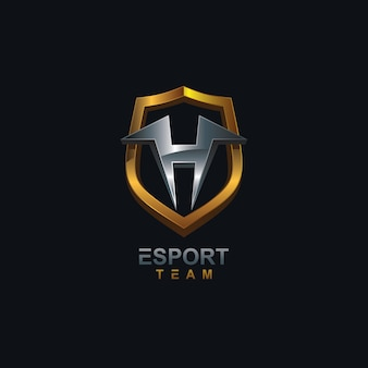 Letter h and shield logo esport