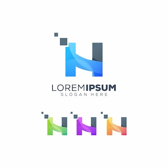 Letter h tech logo