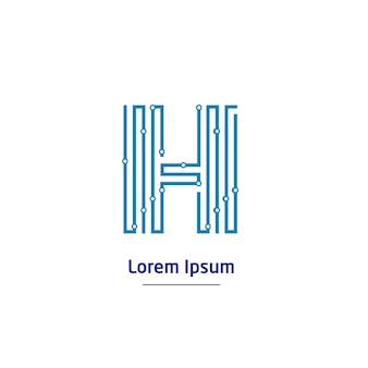 文字hテクノロジーロゴと回路線記号