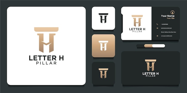 Letter h template logo design with pillar and business card