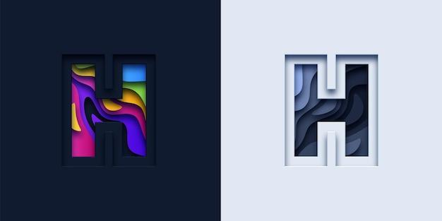 文字hタイポグラフィロゴ