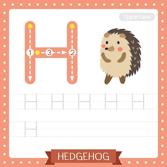 Letter h uppercase tracing practice worksheet. hedgehog standing on two legs