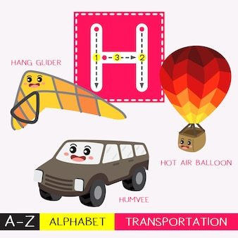 Letter h uppercase tracing transportations vocabulary