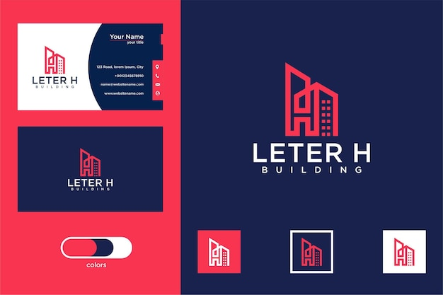Letter h with building logo design and business card