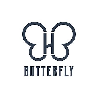 Letter h with butterfly silhouette retro design illustration