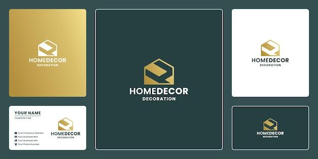 家の装飾とリフォームのためのロゴデザインを組み合わせた家と文字h