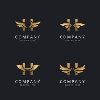 Буква h с роскошным абстрактным шаблоном логотипа крыла