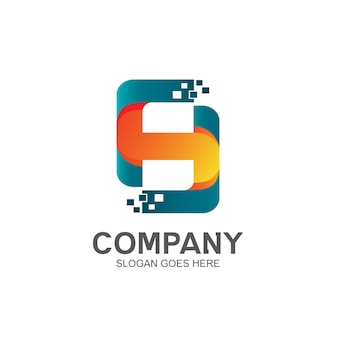 Letter h with pixel logo design