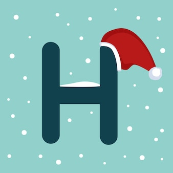 Letter h with snow and red santa claus hat. festive font for christmas and new year