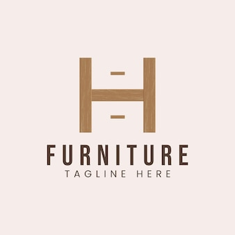 Letter h with wooden furniture concept logo design inspiration