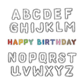 Letter hand drawn birthday doodles