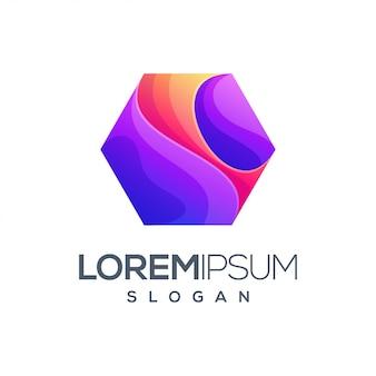 Letter hexagon gradient color logo