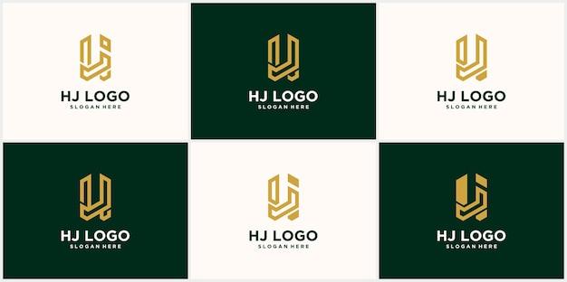 Буква hj дизайн логотипа креативный минимальный hj уникальный логотип с монограммой в роскошном золотисто-желтом цвете