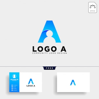 Letter a human logo template vector icon isolated