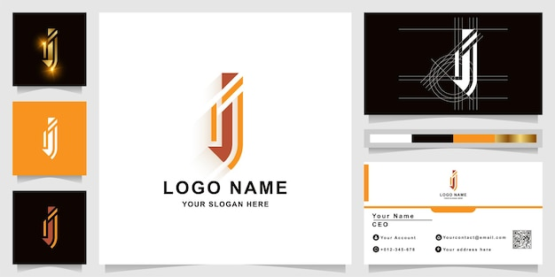 Letter i or ii monogram logo template with business card design
