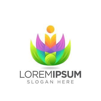 Letter i leaf logo