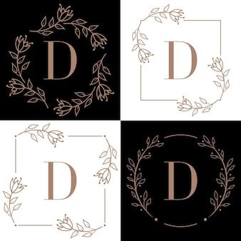 蘭の葉の要素と文字iのロゴデザイン