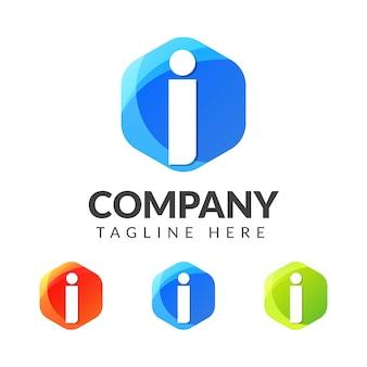 Буква i логотип с красочным фоном, дизайн логотипа комбинации букв для творческой индустрии, интернета, бизнеса и компании.