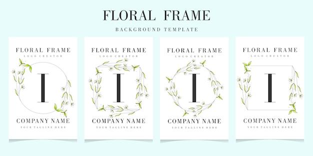 Letter i logo with floral frame background template