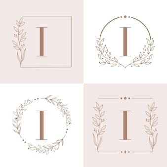 花のフレームの背景テンプレートと文字iのロゴ