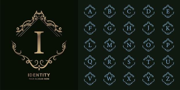 편지 나 또는 럭셔리 장식 꽃 프레임 황금 로고 템플릿 컬렉션 초기 알파벳.