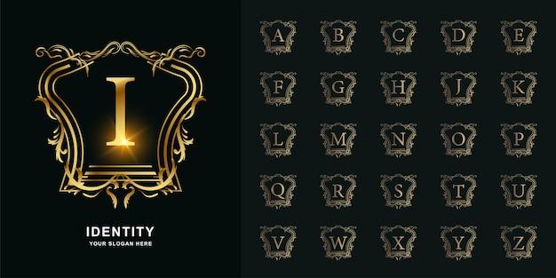 文字iまたは豪華な装飾の花のフレームの黄金のロゴのテンプレートとコレクションの最初のアルファベット。
