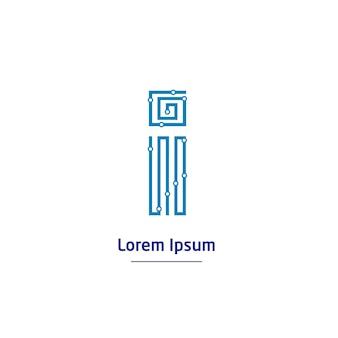 文字iテクノロジーロゴと回路線記号