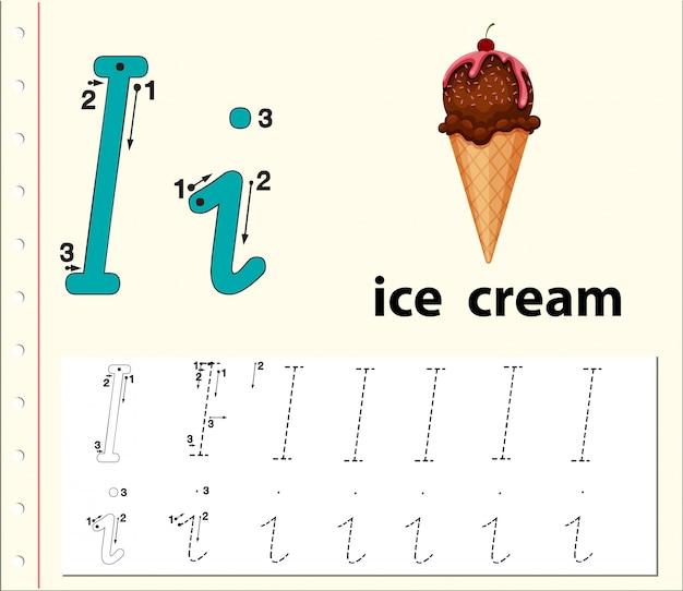 Letter i tracing alphabet worksheets