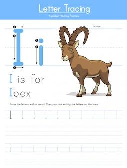 手紙i ibexの動物アルファベットiをトレース
