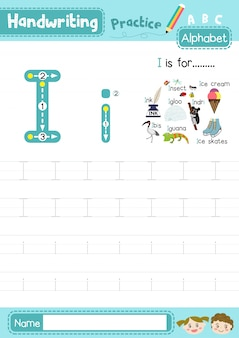 文字iの大文字と小文字のトレースの練習ワークシート